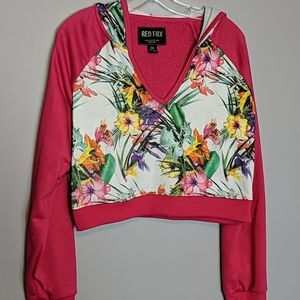 Red Fox Tropical Cropped Hoodie